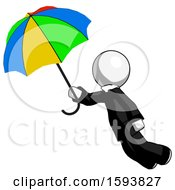 White Clergy Man Flying With Rainbow Colored Umbrella