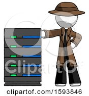 White Detective Man With Server Rack Leaning Confidently Against It