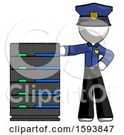 White Police Man With Server Rack Leaning Confidently Against It