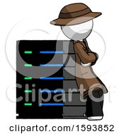 White Detective Man Resting Against Server Rack Viewed At Angle