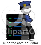 White Police Man Resting Against Server Rack Viewed At Angle