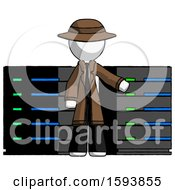 White Detective Man With Server Racks In Front Of Two Networked Systems