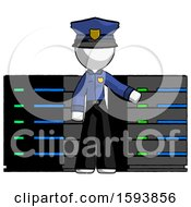White Police Man With Server Racks In Front Of Two Networked Systems