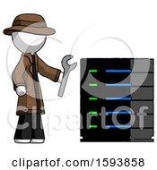 White Detective Man Server Administrator Doing Repairs
