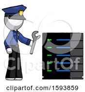 White Police Man Server Administrator Doing Repairs