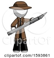 White Detective Man Holding Large Scalpel