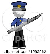 White Police Man Holding Large Scalpel