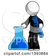 White Clergy Man Holding Test Tube Beside Beaker Or Flask