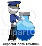 White Police Man Standing Beside Large Round Flask Or Beaker