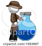 White Detective Man Standing Beside Large Round Flask Or Beaker