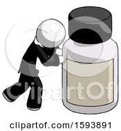 White Clergy Man Pushing Large Medicine Bottle