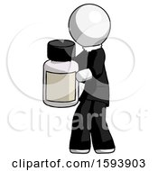 White Clergy Man Holding White Medicine Bottle