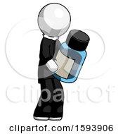 White Clergy Man Holding Glass Medicine Bottle