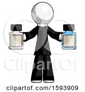 White Clergy Man Holding Two Medicine Bottles