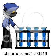 White Police Man Using Test Tubes Or Vials On Rack