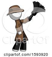 White Detective Man Dusting With Feather Duster Upwards