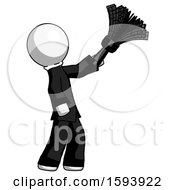 White Clergy Man Dusting With Feather Duster Upwards