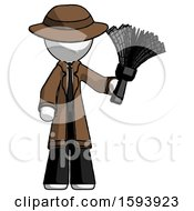 White Detective Man Holding Feather Duster Facing Forward