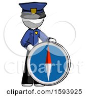 White Police Man Standing Beside Large Compass