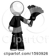 White Clergy Man Holding Feather Duster Facing Forward