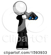 White Clergy Man Holding Binoculars Ready To Look Right