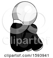 White Clergy Man Sitting With Head Down Back View Facing Right
