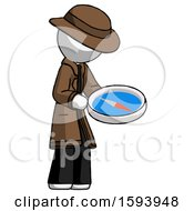 White Detective Man Looking At Large Compass Facing Right