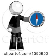 White Clergy Man Holding A Large Compass