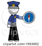 White Police Man Holding A Large Compass