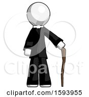 White Clergy Man Standing With Hiking Stick
