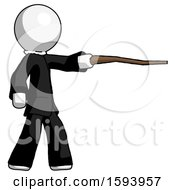 White Clergy Man Pointing With Hiking Stick