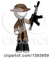 White Detective Man Holding Automatic Gun