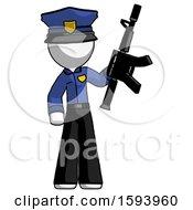 White Police Man Holding Automatic Gun