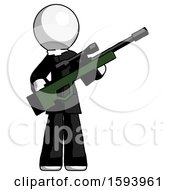 White Clergy Man Holding Sniper Rifle Gun