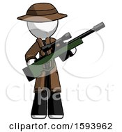 White Detective Man Holding Sniper Rifle Gun