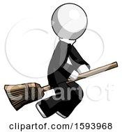 White Clergy Man Flying On Broom