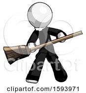 White Clergy Man Broom Fighter Defense Pose