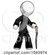 White Clergy Man Walking With Hiking Stick