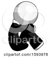White Clergy Man Sitting With Head Down Facing Sideways Right
