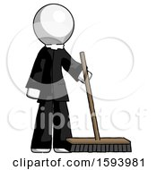 White Clergy Man Standing With Industrial Broom