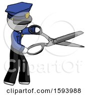 White Police Man Holding Giant Scissors Cutting Out Something