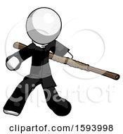 White Clergy Man Bo Staff Action Hero Kung Fu Pose