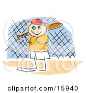 Childlike Drawing Of A Little Boy Playing Baseball, Standing At Home Base And Ready To Bat