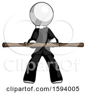 White Clergy Man Bo Staff Kung Fu Defense Pose