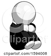 White Clergy Man Sitting With Head Down Facing Angle Right