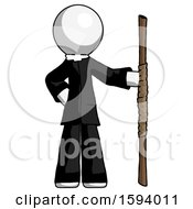 White Clergy Man Holding Staff Or Bo Staff