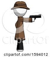 White Detective Man Firing A Handgun