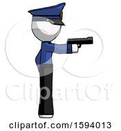 White Police Man Firing A Handgun