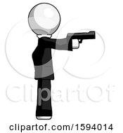 White Clergy Man Firing A Handgun
