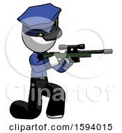 White Police Man Kneeling Shooting Sniper Rifle